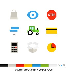 Different flat design web and application interface icons collection. Set 6 of 10