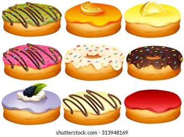 Different flavor of donuts illustration
