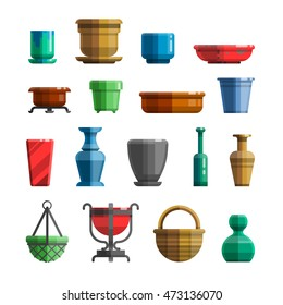Different flowerpots, pots for flowers, vases, ceramics, trays, bottles. Big set in modern colorful flat style for designs. Isolated vector illustration.