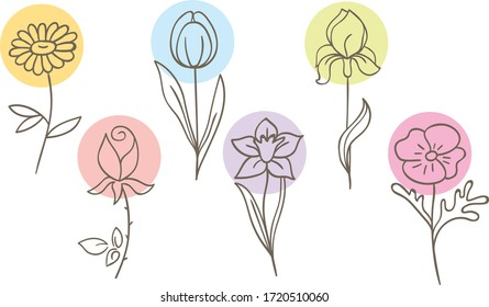 Different flowers vector illustration. Beautiful, abstract, minimalist flower illustration on white background