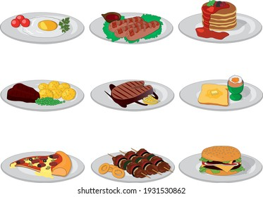 Different food dishes vector illustration set for breakfast, lunch, dinner or supper