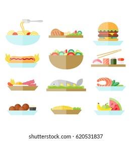 Different food set. Good for menu design. Vector illustration
