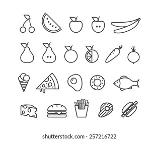 Different food silhouette icons collection. Design elements