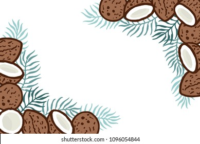 Different freehand drawn cartoon wild tropical cocos coconuts with cyan green palm tree leaves of different shapes made in kid childish style. Decorative rectangular frame. Vector illustration.