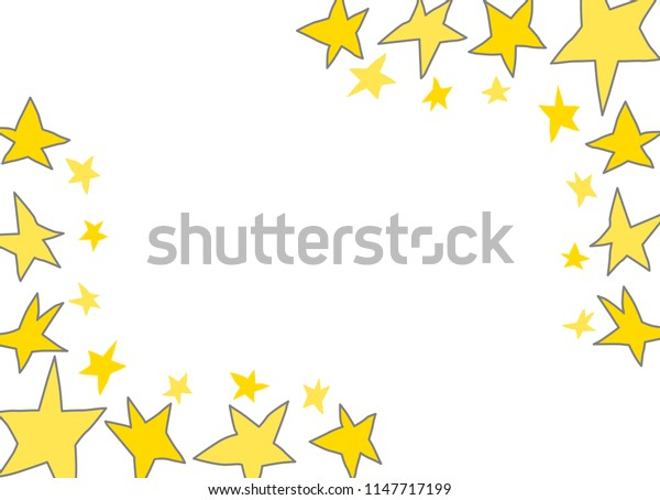Different freehand drawn simple cartoon yellow golden stars made in kid childish style. Decorative rectangular frame. Vector illustration.