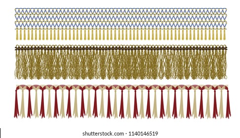 Different fridge textures set, vector illustration. Fashion Design Elements. Border with Tassel and Yarn Trim
