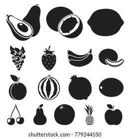 Different fruits black icons in set collection for design. Fruits and vitamins vector symbol stock web illustration.