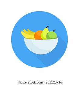 Different fruits in bowl icon in flat design