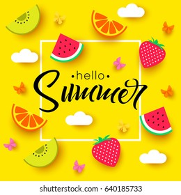 Different fruits pattern with hello summer text on the yellow background. Vector illustration.