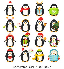 Different funny cartoon penguins collection, vector illustration. Set of characters with Christmas tree and garland, gift and sweet candy, in warm clothes