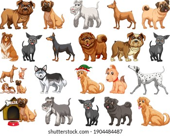 Different funny dogs in cartoon style isolated on white background illustration