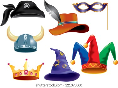 different funny hats for party, holidays and masquerade