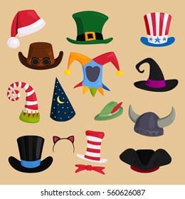 Different funny hats for party, holidays and masquerade vector.