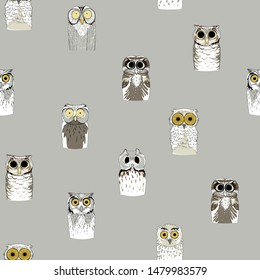 Different funny owls on a light background. Seamless pattern.