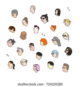 Different funny people faces in cartoon style. Doodle sketch for Your Design. Vector Illustration
