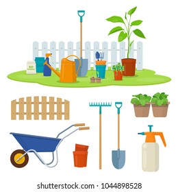 Different gardening equipment and tools against wood fence. Wheelbarrow, watering can, shovel and garden plants in pots. Concept of gardening. Vector illustration
