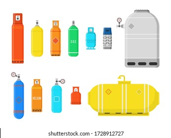 Different gas cylinders isolated on white background. Fuel storage liquefied compressed gas high pressure camping equipment set. Colorful vector illustration in flat style, eps 10.