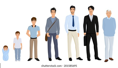 Different generation aging men set isolated on white background vector illustration
