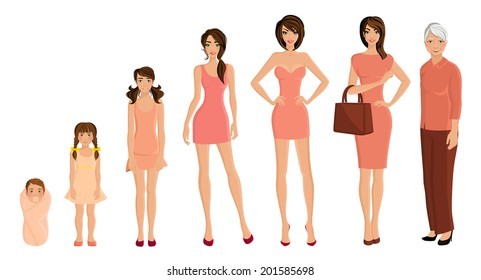 Different generation aging women set isolated on white background vector illustration