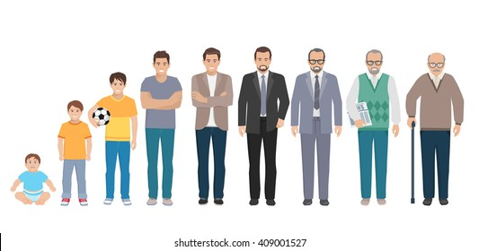 Different generations full length silhouette european men isolated set vector illustration