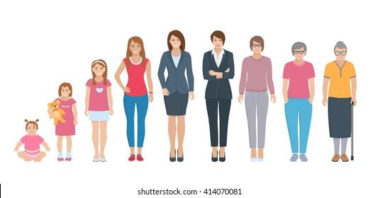 Different generations full length silhouette european women isolated set vector illustration