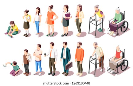 Different generations isometric icons set illustrated human age evolution from kid to old isolated vector illustration