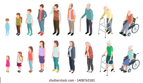 Different generations. Isometric people adult female male characters kids girl boy old man woman human age evolution stages vector set