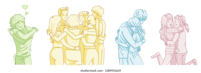 Different gestures embraced. Couples, friends, team and myself. Diversity of people. Cartoon vector illustration isolated on a white background. Simple hand-drawn style.