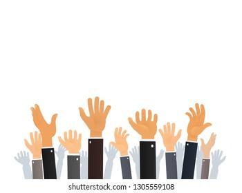 Different gestures Hands up vector collection. People catch something from the sky. People asking for help isolated objects. Cartoon Human arms set
