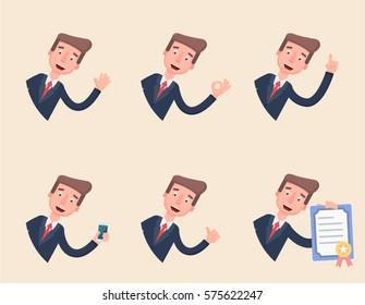 Different gestures office worker. Flat. Vector Illustration