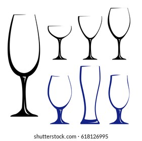 Different glass for wine, juice or beer. Black hand drawn  silhouettes of glasses. Vector illustration of glasses of water. Symbol glass flat style.