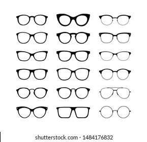 Different glasses in a flat style for web sites