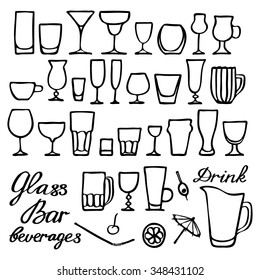 Different glasses set. Hand-drawn cartoon collection with many kinds of glass for drinks. Doodle drawing.  Vector illustration