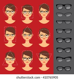 Different glasses shapes for different face shapes. Vector illustration
