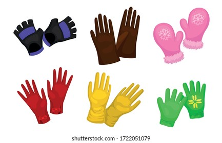 Different Gloves and Mittens as Handwear for Winter and Autumn Season Vector Set