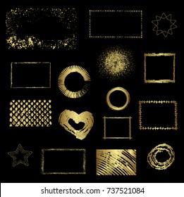 Different gold elements, vector design