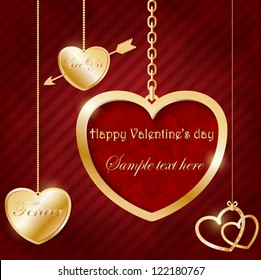 Different golden hearts hanging on chains and one big heart with place for text (Valentine card)