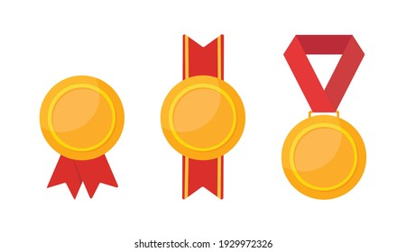 Different golden medals isolated on white backgorund. Trophy with red ribbon. Flat style. Vector stock