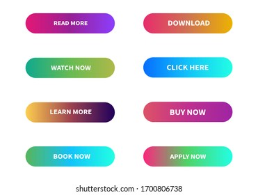 Different gradient colors vector icons set. Colorful button.