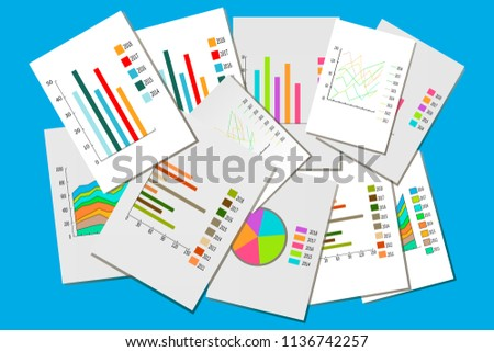 Different Graphs Columns Pie Charts Graphs Stock Vector Royalty