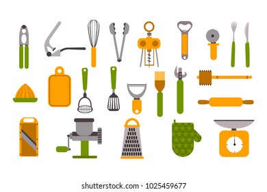Different green and orange colored utensils for kitchen. Cooking ware set. Eps vector illustration