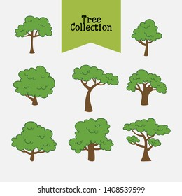 Different Green Tree Types Set. Vector illustration of Various Type Wood
