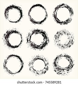 Different grunge circles, vector