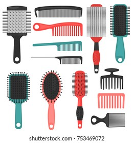 Different hair combs color icons set