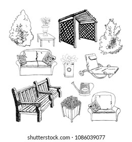 Different hand drawn garden object by ink for visualization outdoor living. Vector illustration.