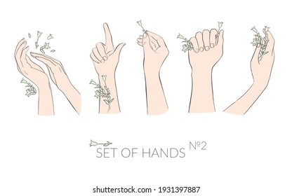 Different hand movements. People are holding plants in their hands.