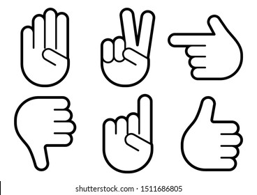 Different hands gestures of human, set of black line icons. Vector illustration