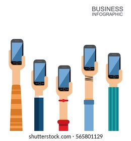 different hands with smartphones in flat style. vector