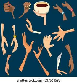 Different hands.Girl hands.Cartoon hands.