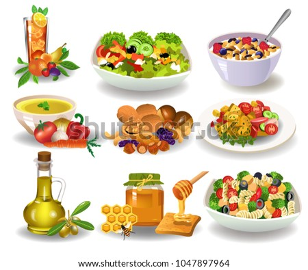 Different Healthy Meals Breakfast Lunch Dinner Stock Vector Royalty